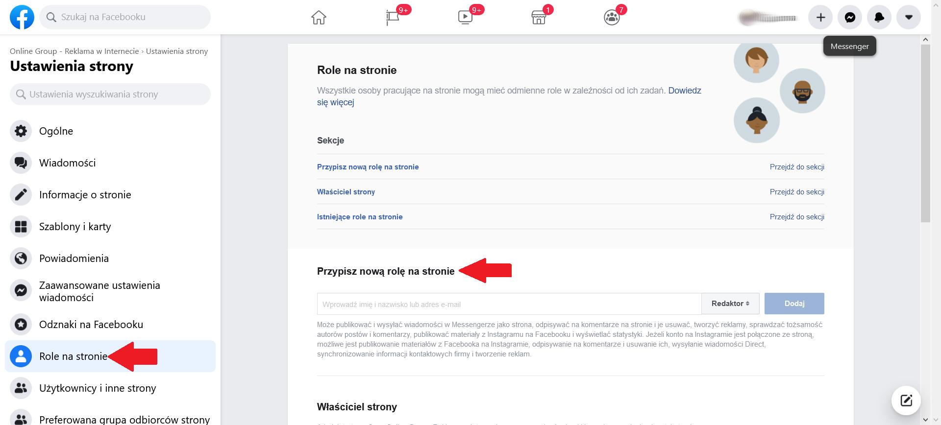 Role na Facebooku krok 2