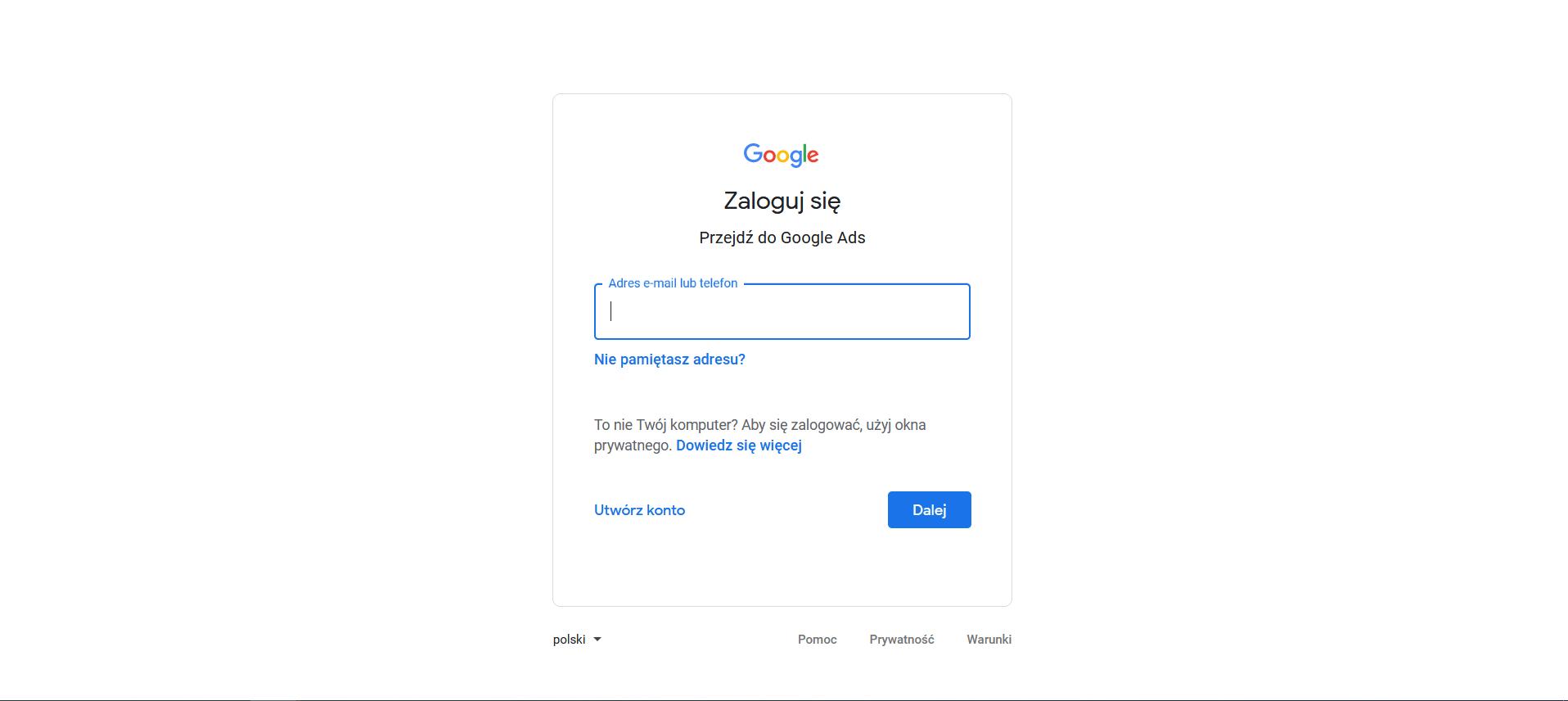 logowanie do google adwords